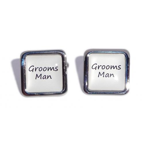 Grooms Man White Square Wedding Cufflinks