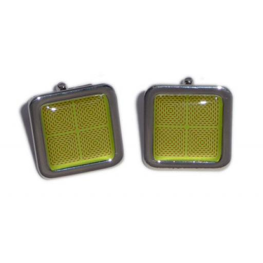 Red Squares On A Green/Yellow Back Ground cufflinks