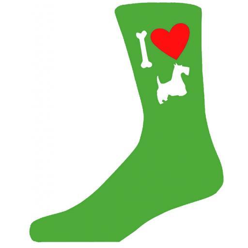 Green Novelty Scottish Terrier Socks - I Love My Dog Socks