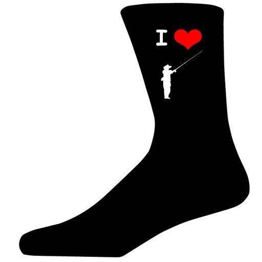 I Love Fishing Picture Socks. Black Cotton Novelty Socks. Adult UK 5-12