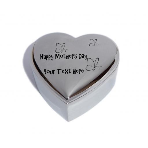 Happy Mothers Day Heart Trinket Jewel Box with Butterflies