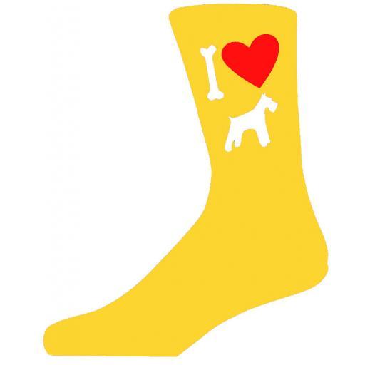 Yellow Novelty Schnauzer Socks - I Love My Dog Socks
