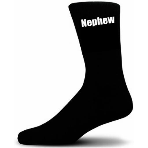 Nephew Socks (Black Socks with White Text) Great Novelty Gifts For The Wedding Party Small UK 9-12 Euro 27-30