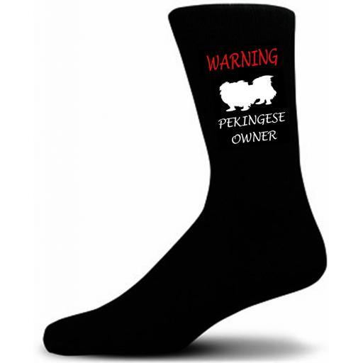 Black Warning Pekingese Owner Socks - I love my Dog Novelty Socks