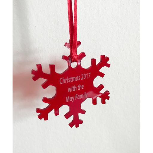 Red Acrylic Hanging Snowflake - Christmas Tree / Home Decor- Free Personal