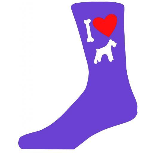 Purple Ladies Novelty Schnauzer Socks- I Love My Dog Socks Luxury Cotton Novelty Socks Adult size UK 5-12 Euro 39-49