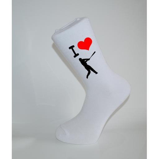 I Love Baseball White Socks, Great Socks for the sportsman, Adults 6-12