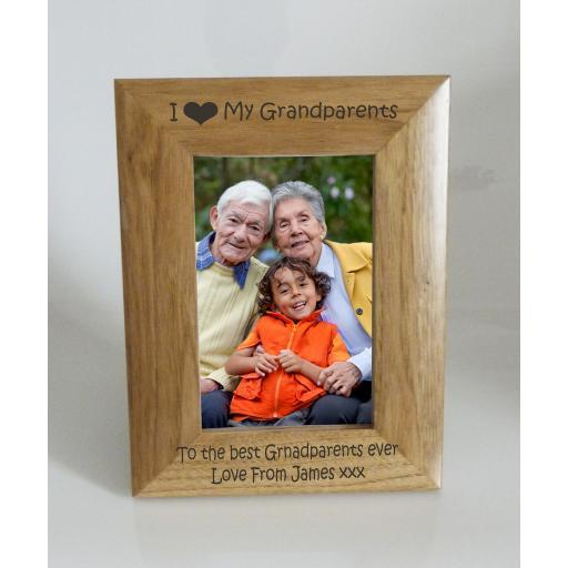 Grandparents Photo Frame 4 x 6 - I heart-Love My Grandparents 4 x 6 Photo Frame - Free Engraving