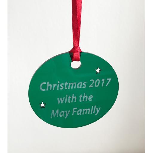 Green Acrylic Hanging Circle - Christmas Tree / Home Decor- Free Personalisation