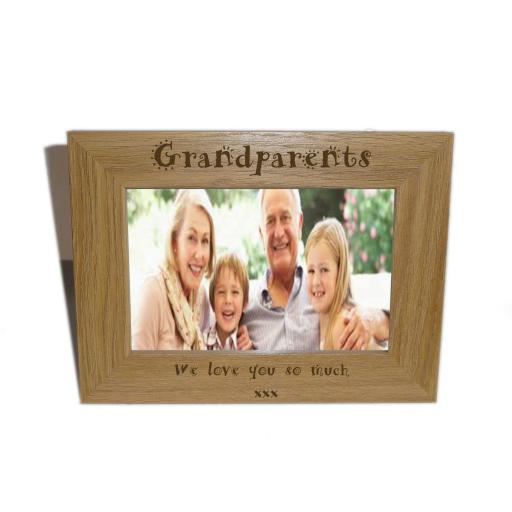 Grandparents Wooden Photo frame 6 x 4 - Personalise this frame - Free Engraving - Please email glamgifts50@yahoo co uk
