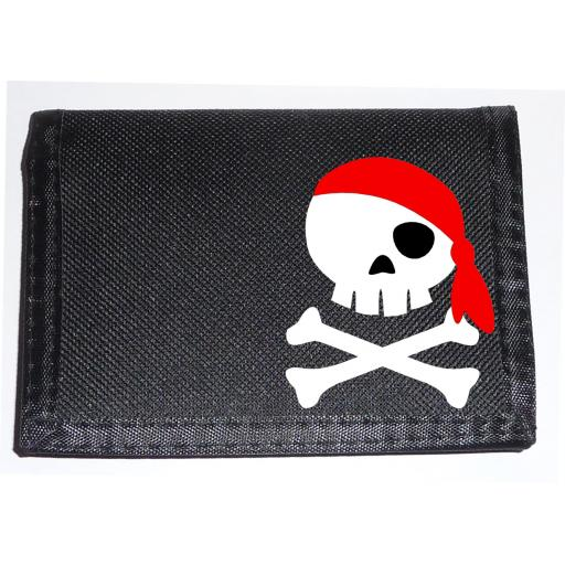 Jolly Roger with a Red Bandana on a Black Nylon Wallet, Funky Birthday or Christmas Gift