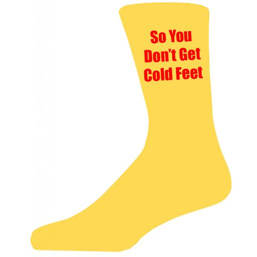 Yellow Wedding Socks with Red So You Don't Get Cold Feet Title Adult size UK 6-12 Euro 39-49