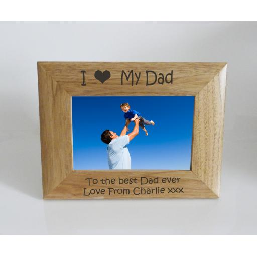 Dad Photo Frame 6 x 4 - I heart-Love My Dad 6 x 4 Photo Frame - Free Engraving