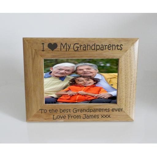 Grandparents Photo Frame 6 x 4 - I heart-Love My Grandparents 6 x 4 Photo Frame - Free Engraving