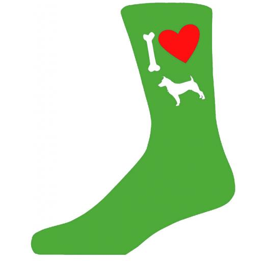 Green Novelty Jack Russel Terrier Socks - I Love My Dog Socks