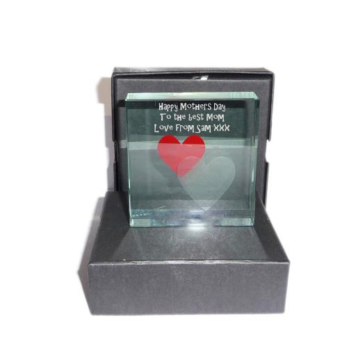 Happy Mothers Day with 2 hearts - Personalised Message Glass Crystal Block