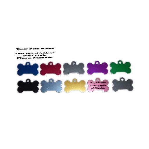 Pet ID Tag Tags, Quality 32mm Black Acrylic Bone Shape with Tab