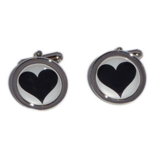 Heart cufflinks - Black