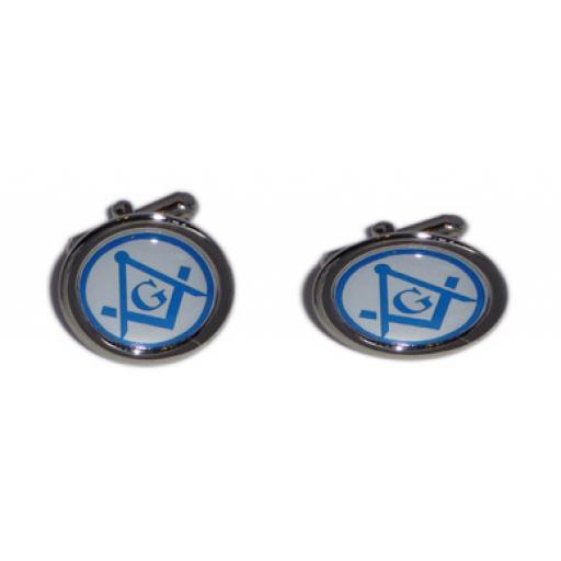 Masonic Blue & White Compass cufflinks