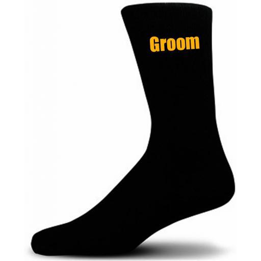 Black Wedding Socks with Yellow Groom Title Adult size UK 6-12 Euro 39-49