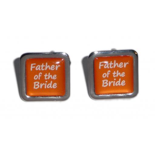 Father of the Bride Orange Square Wedding Cufflinks