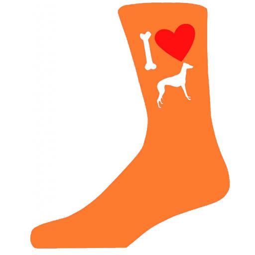 Orange Novelty Grey Hound Socks - I Love My Dog Socks