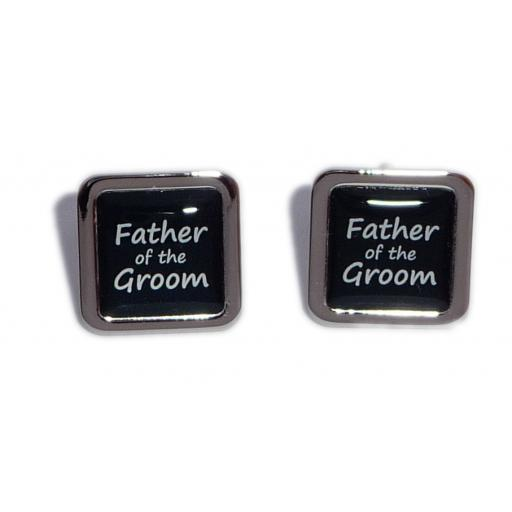Father of the Groom Black Square Wedding Cufflinks