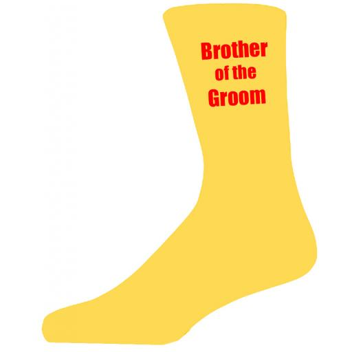 Yellow Wedding Socks with Red Brother of The Groom Title Adult size UK 6-12 Euro 39-49