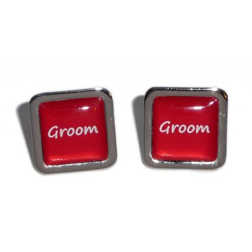 Groom Red Square Wedding Cufflinks