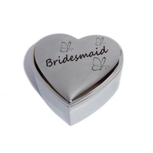 Bridesmaid Heart Trinket Jewellery Box with Butterfly Design
