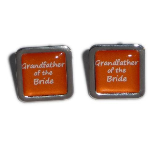 Grandfather of the Bride Orange Square Wedding Cufflinks