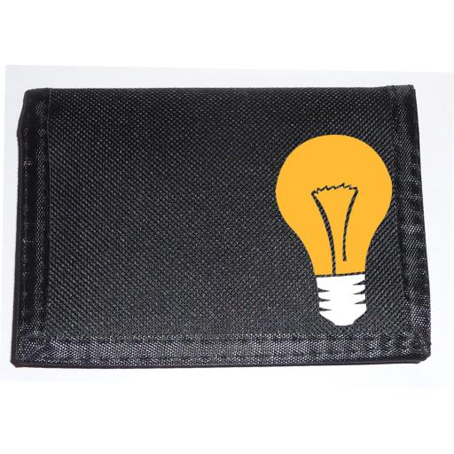 Light Bulb on a Black Nylon Wallet, Funky Birthday, Fathers Day or Christmas Gift