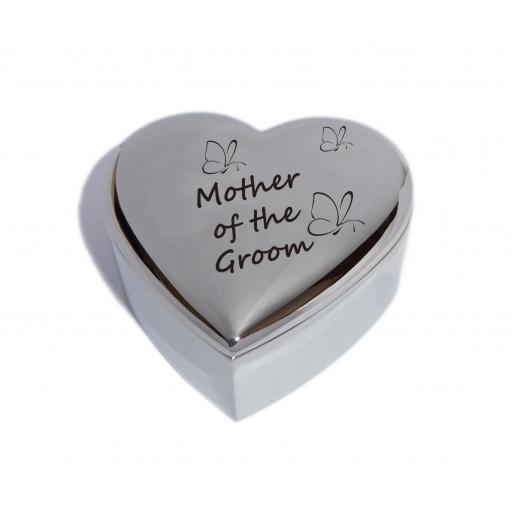 Mother of the Groom Heart Trinket Jewellery Box with Butterfly Design