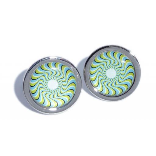 Green & Blue Swirl Pattern cufflinks