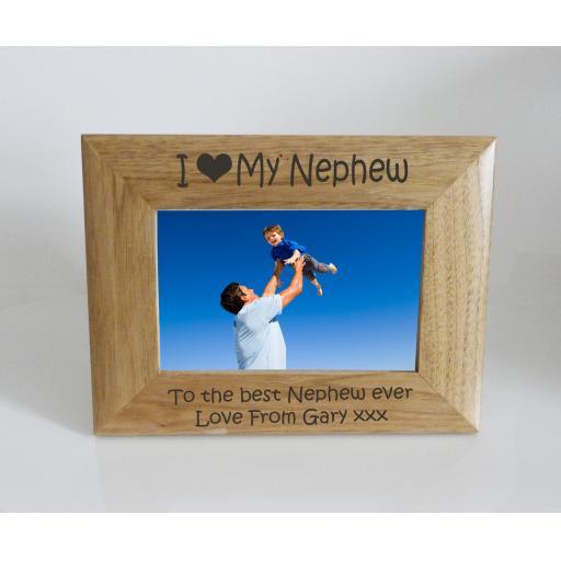 Nephew Photo Frame 6 x 4 - I heart-Love My Nephew 6 x 4 Photo Frame - Free Engraving