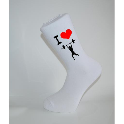 I Love WeightLifting White Socks, Great Socks for the sportsman, Adults 6-12