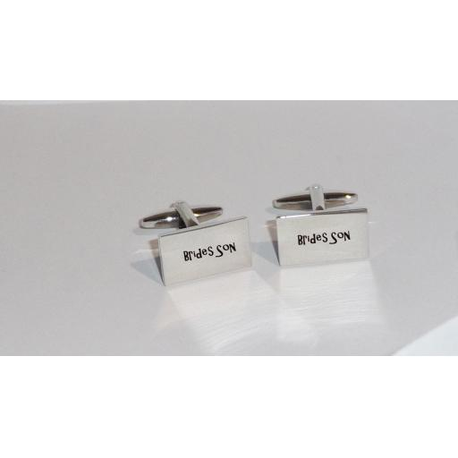 Brides Son Rectangle Laser Engraved Cufflinks for the Wedding Party. Goom, Best Man, Father of The Bride. All cufflinks come with an organza gift pouch.