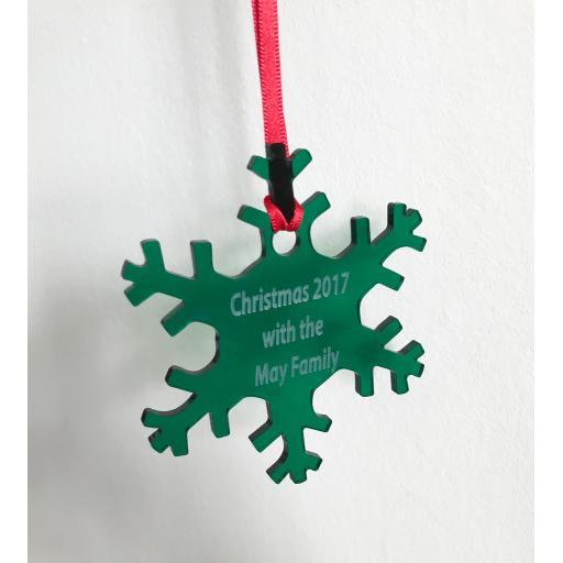 Green Acrylic Hanging Snowflake - Christmas Tree / Home Decor- Free Personal