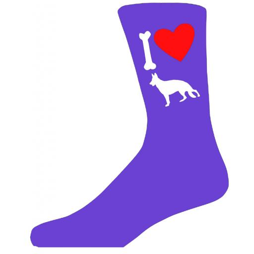 Purple Ladies Novelty German Shepherd Socks- I Love My Dog Socks Luxury Cotton Novelty Socks Adult size UK 5-12 Euro 39-49