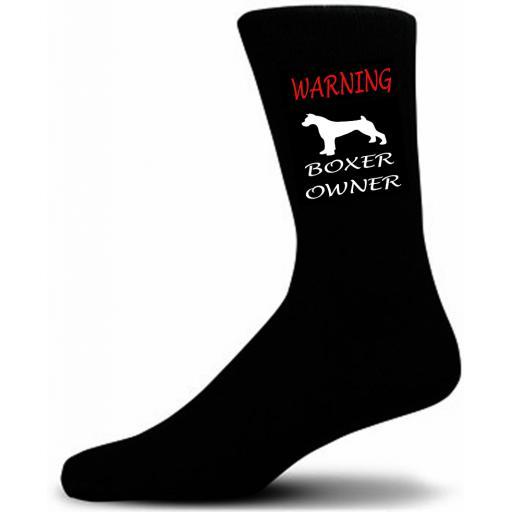 Black Warning Boxer Owner Socks - I love my Dog Novelty Socks