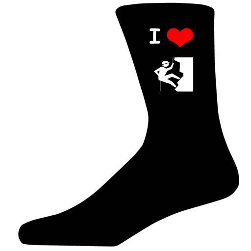 I Love Climbing Picture Socks. Black Cotton Novelty Socks. Adult UK 5-12