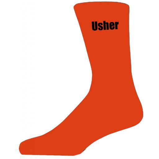 Orange Wedding Socks with Black Usher Title Adult size UK 6-12 Euro 39-49