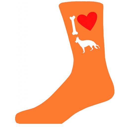 Orange Novelty German Shepherd Socks - I Love My Dog Socks