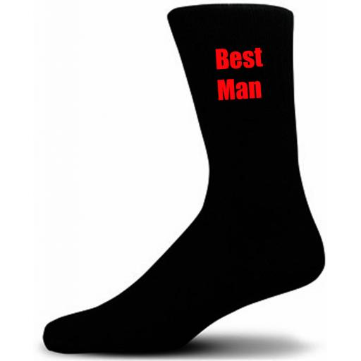 Black Wedding Socks with Red Best Man Title Adult size UK 6-12 Euro 39-49