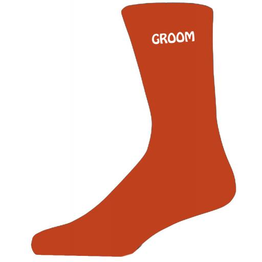 Simple Design Orange Luxury Cotton Rich Wedding Socks - Groom