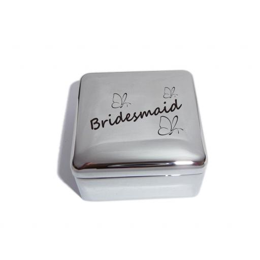 Bridesmaid Square Trinket Jewellery Box with Butterfly Design