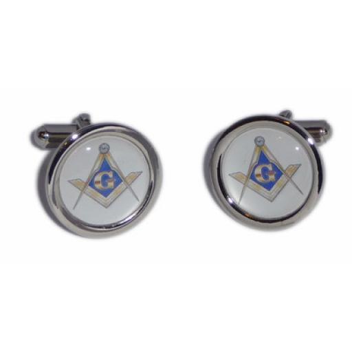 Masonic Blue, White & Gold Compass cufflinks