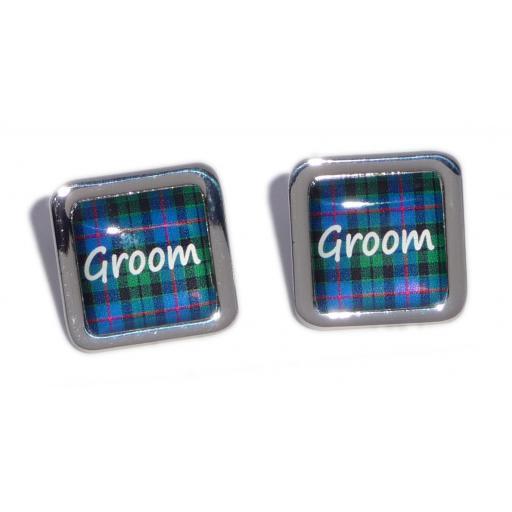 Groom Blue Tartan Square Wedding Cufflinks