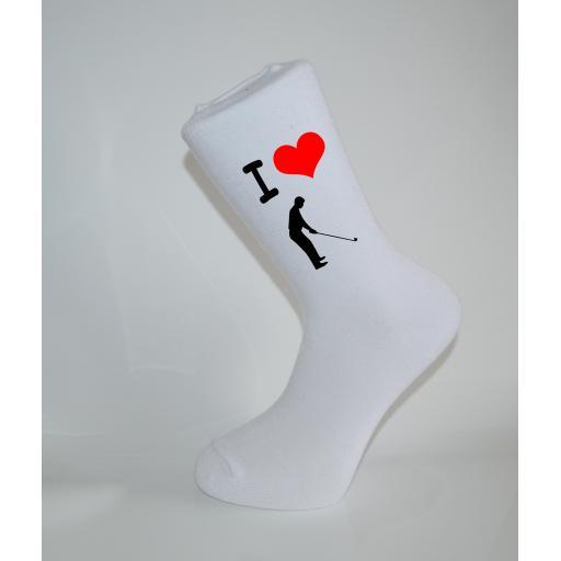 I Love Golf White Socks, Great Socks for the sportsman, Adults 6-12