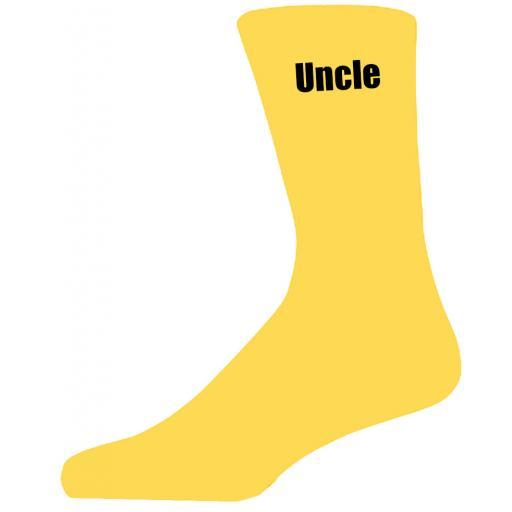 Yellow Wedding Socks with Black Uncle Title Adult size UK 6-12 Euro 39-49